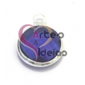 Pendente Metal Cristal Dark Blue - Prateado (12 mm)