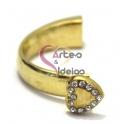 Meia Pulseira Metal Coração com Brilhantes - Dourada (10 x 5)
