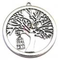 Pendente Metal Redondo Tree House Bird - Prateado (75 mm)