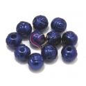 Contas Acrílicas Bolinhas Relevo Rosa [8 mm] - Azul Escuro (10 unds)