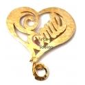 Pendente Latão Coração Love - Dourado (45 x 41 mm)