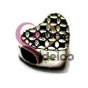 Conta Metal Coração Xadrez - Prateado (4 mm)