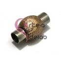 Fecho Metal [Aço Inox] Bolinha Dourada Rosa - Prateado (4 mm)