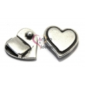 Fecho Zamak Coração Liso - Prata (10 x 2)