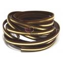 Cabedal Plano Com Tira Dourada Metalizada - Dark Brown (5 x 2) - [cm]