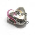 Conta Metal Coração Liso - Prateado (3 mm)