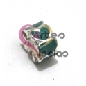 Conta Metal Corações Verde Turquesa - Prateado (4 mm)