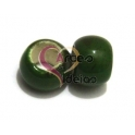 Conta de Porcelana Verde Tropa com Verde Escuro (6 mm)