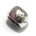 Conta Zamak Anel com Coração em Relevo - Prateada (10 mm)