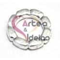 Conta Zamak Anel Efeito Flor - Prateada (10 mm)