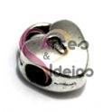 Conta Metal Coração Cadeado - Prateado (4/5 mm)