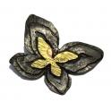 Pendente Metal Borboleta Dupla - Prateado com Dourado Mate (64 x 52 mm)