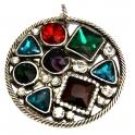 Pendente de Metal Redondo Multi Crystals - Prateado (63 mm)
