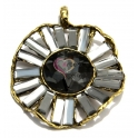 Pendente de Metal Round Black Crystal Shine - Dourado (63 mm)