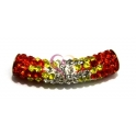 Tubo Strass Peq. Tri-color -Orange - Yellow - Crystal