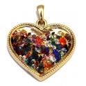 Pendente de Metal Coração com Brilhantes Flutuantes - Dourado (45 x 47)