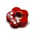 Conta Metal Flor com Brilhantes - Vermelho (8 x 1.5 mm)
