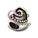 Conta Metal Coração Cornucópia - Prateada (5 mm)