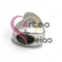 Conta Metal Coração Liso - Prateado (3/4 mm)