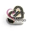 Conta Metal Coração Mom Ponteado - Prateada (4 a 5 mm)