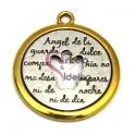 Pendente Metal Anjo Oração - Prateado com Aro Dourado (37 mm)