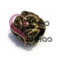 Conta Metal Tubinho Florido - Dourado Velho (4 mm)