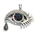 Pendente Metal Olho Azul com Lágrima - Prateado (42 x 55 mm)