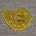 Pendente Acrílico Pássaro - Amarelo Fluorescente (30 x 37 mm)