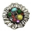 Pendente Metal Flor com Pedrinhas Coloridas - Prateado (62 mm)