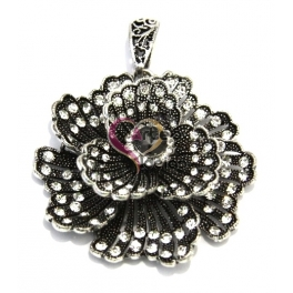 Pendente Metal Beautiful Flower - Prateado (57 mm)