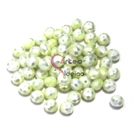 Conta de Cristal Facetada - Pearl Light Green (8 x 5 mm)