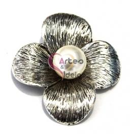 Pendente Metal Flor Simples - Prateado (50 mm)