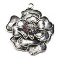 Pendente Metal Flor em Camadas - Prateado (50 mm)
