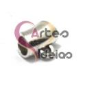 Conta Metal Tubinho com Argola - Prateado (3 mm)