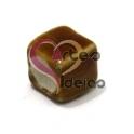 Conta de Porcelana Cubo - Castanho (6 mm)