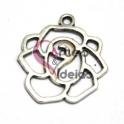 Pendente Metal Rosa Aberta - Prateado (20 x 18 mm)