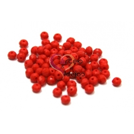 Conta de Cristal Facetada - Opaque Red (4 mm) - [20 unds]