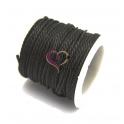 Fio de algodão Encerado Twist (2 mm) - Preto [1 metro]