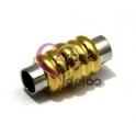 Fecho Metal de Íman com Elos Dourados - Prateado (5 mm)