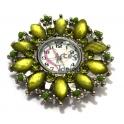 Mostrador de Relógio Flor de Cristais Verdes