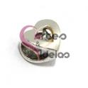 Conta Metal Coração Recorte Coração - Prateada (5 mm)