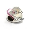 Conta Metal Coração Liso - Prateado (4 a 5 mm)