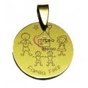 Pendente Aço Inox Gravação Família Feliz [2 ninos] - Dourado (25 mm)