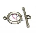 Fecho Metal Liso em T - Prateado (21 mm)