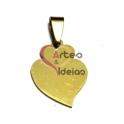 Pendente Aço Inox Coração de Viana (2) - Dourado (25 x 17 mm)