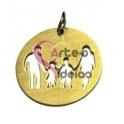 Pendente Aço Inox Família Menino e Menina - Dourado (22 mm)