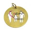 Pendente Aço Inox Família 1 Menino - Dourado (22 mm)