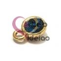 Pendente Metal Brilhante Azul - Dourado (8 mm)