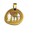 Pendente Aço Inox Irregular Família 2 Meninas - Dourado (25 x 26 mm)