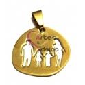 Pendente Aço Inox Irregular Família Menino e Menina - Dourado (25 x 26 mm)